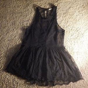 Hollister black lace tunic top